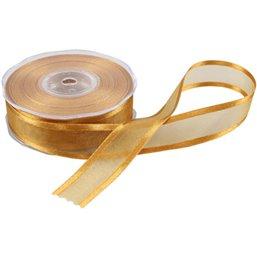 Ribbon Organza Satin Edge Gold 25mm