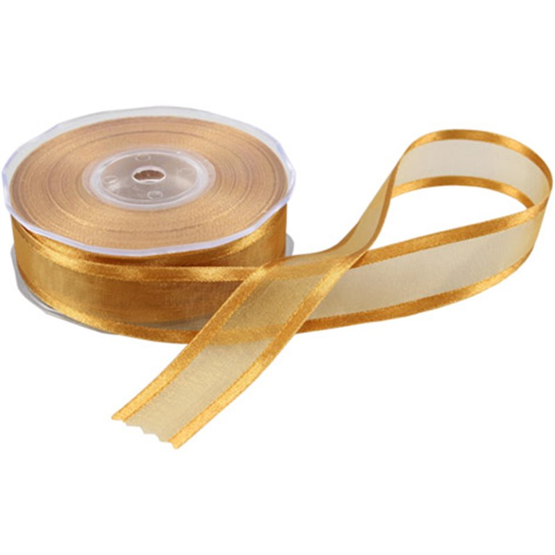 Ribbon Organza Satin Edge Gold 25mm - Horecavoordeel.com