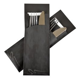 Cutlery bag Large Nr 1 Black with Airlaid napkin Pochetto - Horecavoordeel.com