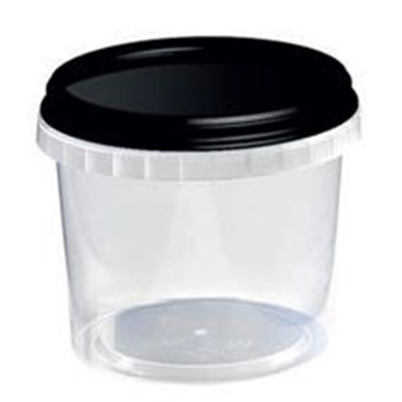 Ringlock Cups - containers With seal closure 520cc PP Clear + Lid PP Black - Horecavoordeel.com