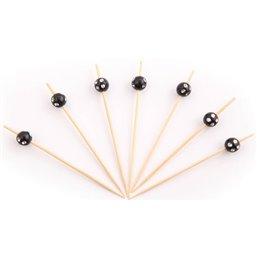 Bamboe Prikkers met Zwarte Bol met Diamanten 90mm