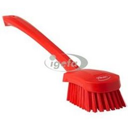 Dish brush With Tall Helve Polyester Fiber, Hard 415x71x75mm Red
