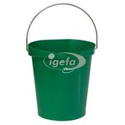 Emmer 12 Liter Van Polypropyleen En Roestvrij Staal 325x330x330mm Groen