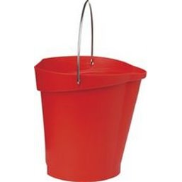 Bucket 12 Liter Polypropylene and Stainless steel 325x330x330mm Also see Bucket Lid 5687 and Wall holder 16200 Red