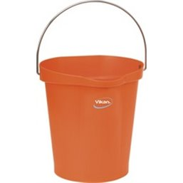 Bucket 12 Liter Polypropylene and Stainless steel 325x330x330mm Also see Bucket Lid 5687 and Wall holder 16200 Orange