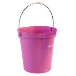 Bucket 6 Liter Polypropylene and Stainless steel 260x270x258mm Also see Bucket Lid 5689 and Wall holder 16200 Pink