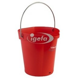 Bucket 6 Liter Polypropylene and Stainless steel 260x270x258mm Also see Bucket Lid 5689 and Wall holder 16200 Red