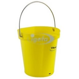 Bucket 6 Liter Polypropylene and Stainless steel 260x270x258mm Also see Bucket Lid 5689 and Wall holder 16200 Yellow