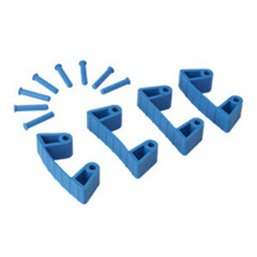 Aanvul set Klemmen Voor Full Colour Ophangsysteem Met 4 Flexibele Rubber Klemmen En 8 Pinnetjes Blauw