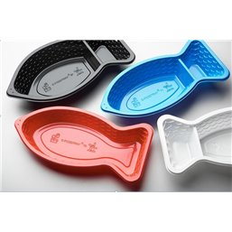 C-foodtray 71 Kibbeling tray Big With Sauce box PS Blue 300cc / 80cc 205x110x35mm
