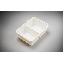 Maaltijdbakken 1000cc 2-Vaks Microwave ~ Freeze Wit 183 x 135 x 63mm
