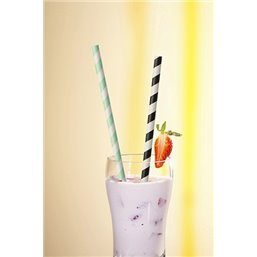 Drinking Straw Paper Straight 6mm x 20cm Stripe white - Black