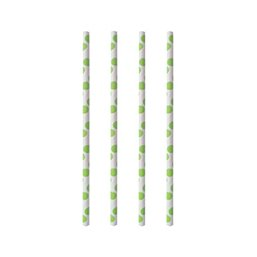 Drinking Straw Paper Straight 6mm x 20cm Stripe Dots green