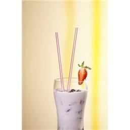 Milkshake Rietjes Karton Streep Rood - Wit Ø 8 x 200mm