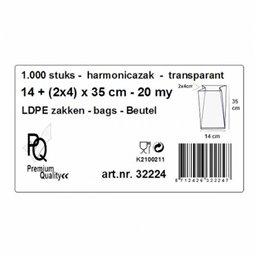 Poly bags LDPE 14x4x35cm 20my