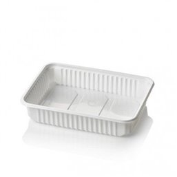 Microwave Meal containers - Bins 180 Series 500cc Rectangle PP White