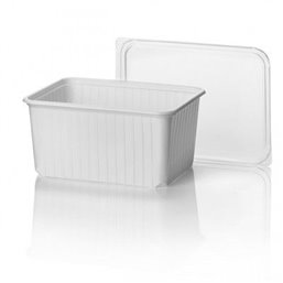 Microwave Meal containers - Bins 180 Series 2000cc Rectangle PP White