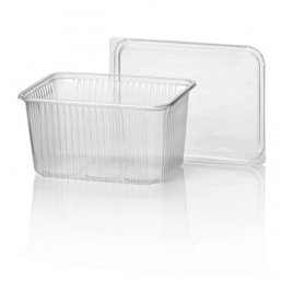 Microwave Meal containers - Bins 180 Series 2000cc Rectangle PP Transparent