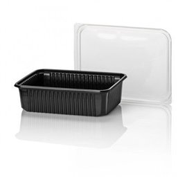 Microwave Meal containers - Bins 180 Series 750cc Rectangle PP Black