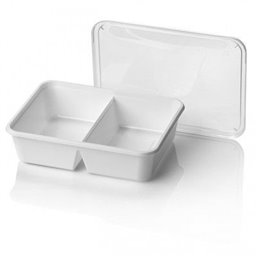 Microwave Meal trays 750cc 2-Compartment 182 Series Rectangle PP White 183 x 135 x 45mm