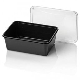 Microwave Meal trays 650cc 182 Series Rectangle PP Black 183 x 135 x 42mm