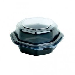 Octaview Box PS Black with fixed Lids Transparent 118x80