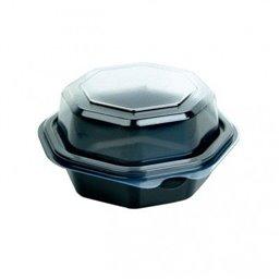 Octaview Schalen PS Zwart + Vaste Deksels Transparant Ø 118 x 80mm