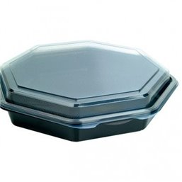 Octaview Box PS Black with fixed Lids Transparent 230x50