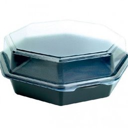 Octaview Box PS Black with fixed Lids Transparent 230x80