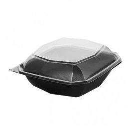 Octaview Box VK PET Black with fixed Lids Transparent 225x80