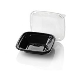Saladbowl Dome Pack 500cc rectangular PET Black + Lids Transparent
