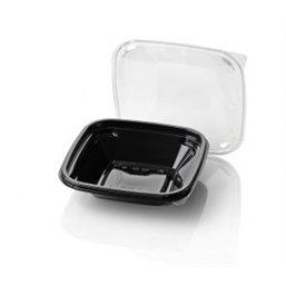 Saladebakken 500cc Dome Pack Rechthoek PET Zwart + Deksels Transparant 190 x 190mm