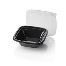 Saladebakken 800cc Dome Pack Rechthoek PET Zwart + Deksels Transparant 190 x 190mm