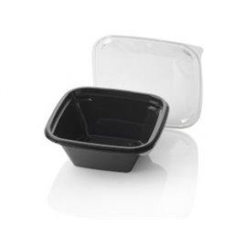 Saladebakken 1000cc Dome Pack Rechthoek PET Zwart + Deksels Transparant 190 x 190mm