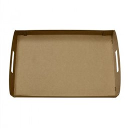 "Catering platter ""100% Fair"" Cardboard Brown With handles 35cm"