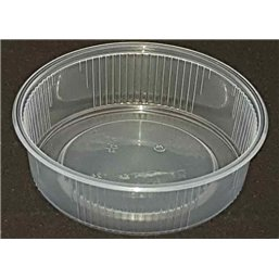 Round Salad trays - containers 101 Series Ribbed PP Transparent 125cc Ø 101mm