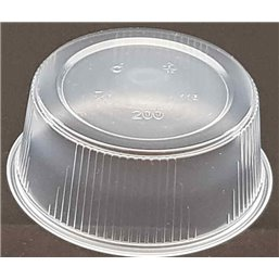 Round Salad trays - containers 101 Series Ribbed PP Transparent 200cc Ø 101mm