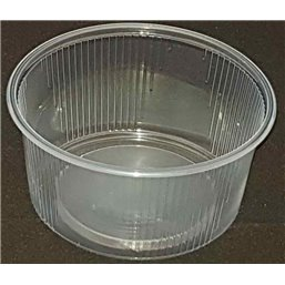 Round Salad trays - containers 101 Series Ribbed PP Transparent 250cc Ø 101mm