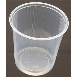 Round Salad trays - containers 101 Series Ribbed PP Transparent 500cc Ø 101mm