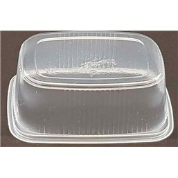Salad trays - containers 108 Series Ribbed Rectangle PP Transparent 200cc 108/42