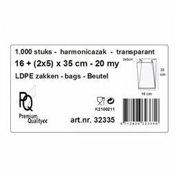 Poly- Zakken met Zijvouw LDPE 15 x 4,5 x 45cm 50my (Diepvrieszakken)