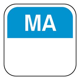 Day labels Monday 19x19xmm Blue-Blank