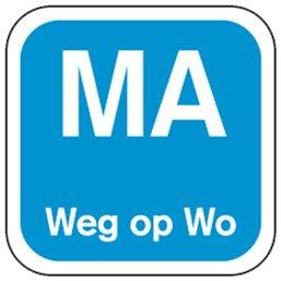 Dagstickers Maandag Weg Op Woensdag 19 x 19mm Blauw
