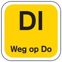 Dagstickers Dinsdag Weg Op Donderdag 19 x 19mm Geel