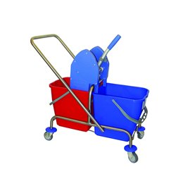 Mop tRolley Complete 2 Buckets and Mount, Push handle, Helve, Mop and Clamp