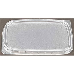 Retangle Salad lids for trays - containers 108 Series Ribbed PP Transparent 108mm