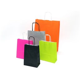 Orange Paper Bags With Twisted Handles 14+7x21cm