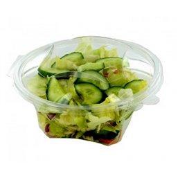 Saladebakken 1000ml Rond + Vaste Deksels RPET Transparant 187 x 185 x 77mm