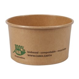 "Salad Bowl Brown Cardboard Round ""100% FAIR"" 120ml Ø 92mm"