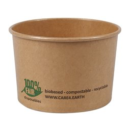 "Salad Bowl Brown Cardboard Round ""100% FAIR"" 230ml Ø 92mm"